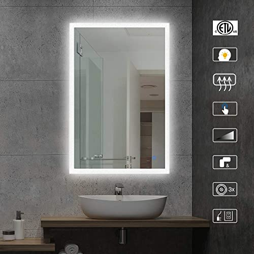 AI-LIGHTING Lighted Bathroom Makeup Mirror,20×28 Inch LED Wall Mount Frameless Rectangle Smart Bathroom Mirror with Touch Button Horizontal Vertical,Anti-Fog
