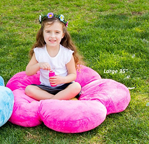 Girls Flower Floor Pillow Seating Cushion, for a Reading Nook, Bed Room, or Watching TV. Softer and More Plush Than Area Rug or Foam Mat. 20