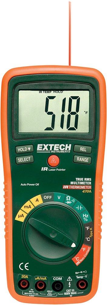 Extech EX470A Multímetro profesional de verdadero valor eficaz con 12 funciones y termómetro IR