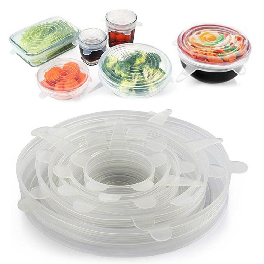 Denshine Silicone Stretch Lids 6 Pack Reusable Durable and Expandable Food Wrap Seal Covers Fit Various Sizes and Shapes of Containers for keep food fresh, Dishwasher and Freezer Safe