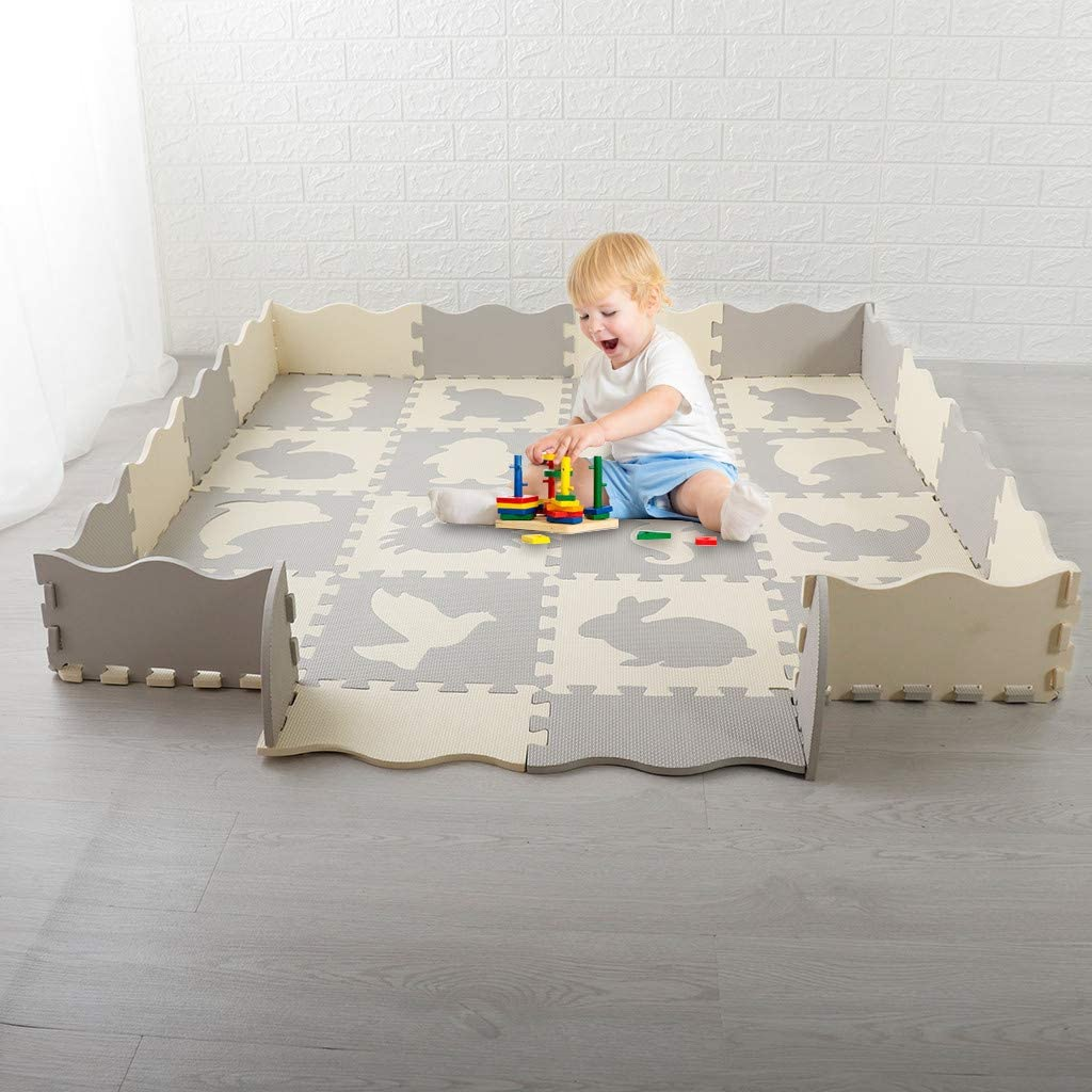 Vibola Play Mat Interlocking Foam Mats with Fence Puzzle for Children Thick EVA Exercise Flooring Crawling Mat Ship from USA Directly Soft Non Toxic Kids Play Tiles