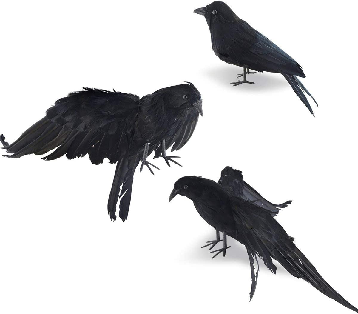 Takefuns Halloween Realistic Handmade Crow Prop 3 Pack Black Feathered Crow Fly and Stand Crows Ravens for Outdoors and Indoors Crow Decoration