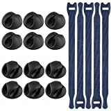 Vastar 12 Pack Desktop Cable Clips Holders Cord Management System, Black and 5 pack Reusable Cable Ties