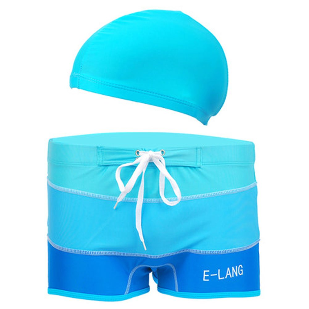 Mens Swim Trunk Shorts Swimwear Boxer Briefs(Trunk+Cap), Blue XXXL Blancho Bedding