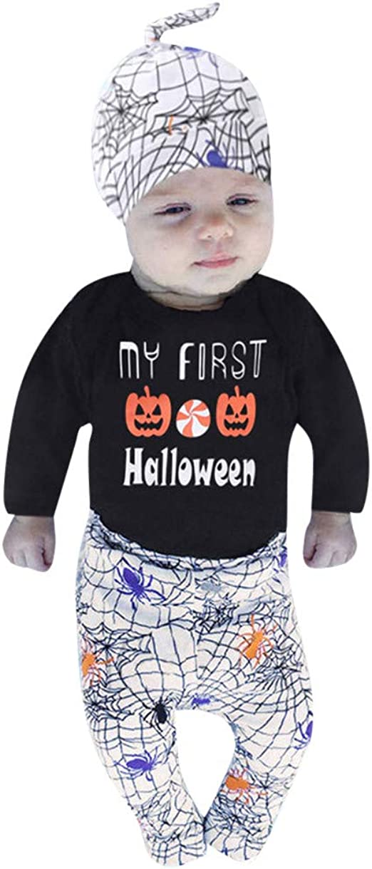 Children Baby Letter Romper Top Pumpkin Prin Pants Cap Halloween Clothes Sets