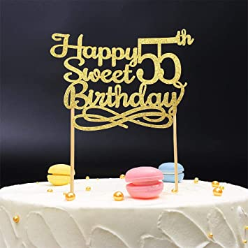 Gold Happy Sweet 55th Birthday Cake TopperGold Paper Topper Party