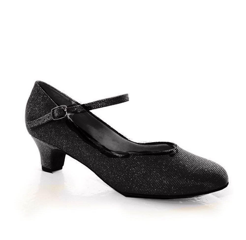 Ladies Large 1.5'' heel ballroom closed toe, canvas with glitter fabric upper shoe (12.5, Black)
