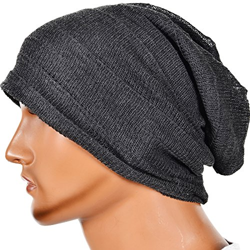 Men's Slouch Knitted Beanie Hat Crochet Stripe Winter Cap Oversized B318 (XZZ-Grey)