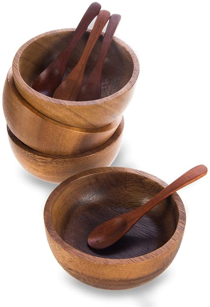 BestySuperStore mini Acacia Wood Bowl in small size for Condiments, Dip Sauce, Nuts, Candy, Fruits, Appetizer, and Snacks, Dia 3.75