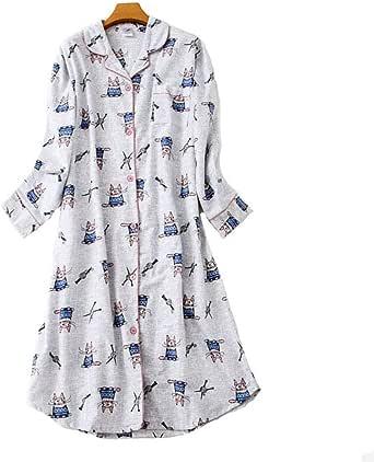 Camisón Mujer Botones Invierno algodón Pijamas de Manga Larga Vestido de Dormir Camisa Mujer Camisónes Nightshirt Treillis: Amazon.es: Ropa y accesorios