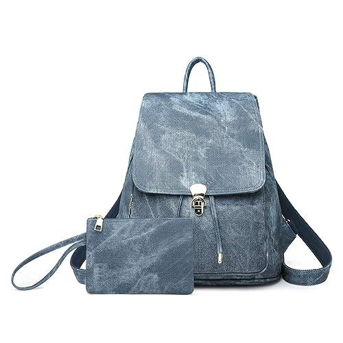 MaysUrban - Bolso mochila de Piel Lisa para mujer, Azul (azul), talla única: Amazon.es: Zapatos y complementos