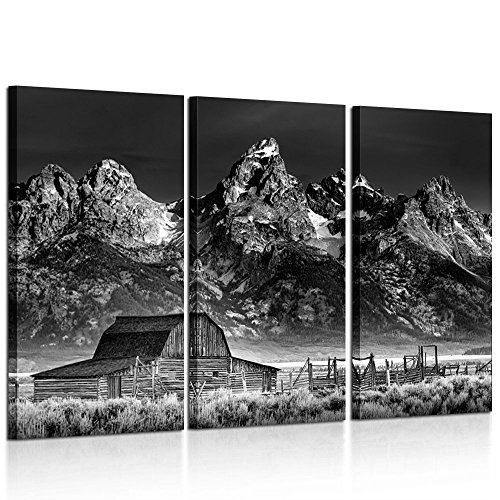 Kreative Arts - Black and White Canvas Prints Wall Art 3 Pieces John Moulton Barn on Mormon Row Landscape Picture Grand National Park USA for Living Room Home Office Decor Ready to Hang 16x32inchx3pcs