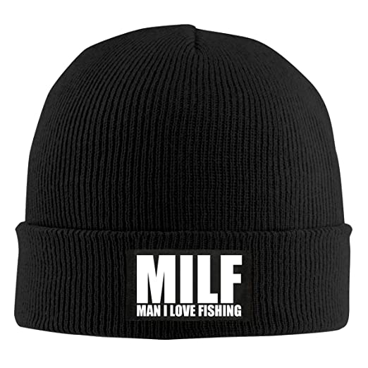 54766e0054a Amazon.com  Milf Man I Love Fishing Wool Knit Hat Beanie Cap Unisex ...