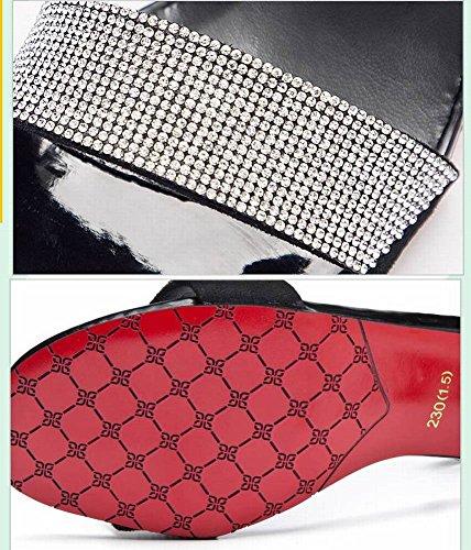 Tacón Cabeza de de Sandalias con de Sandalias Tacón Mujer de de Moda Tacón Cuadrada Sandalias de 3 5Cm Goma Alto Moda de Grueso Sandalias Gamuza Moda Casuales Salvaje de Diamante Mujer Aguja Hebilla BCdqCn