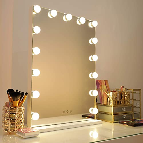 WAYKING Makeup Vanity Mirror with Lights, Hollywood Style in 3 Color Modes, Handy USB Port, Touch Control Design Cosmetic Tabletops, H22.8 x L16.9 inch, White