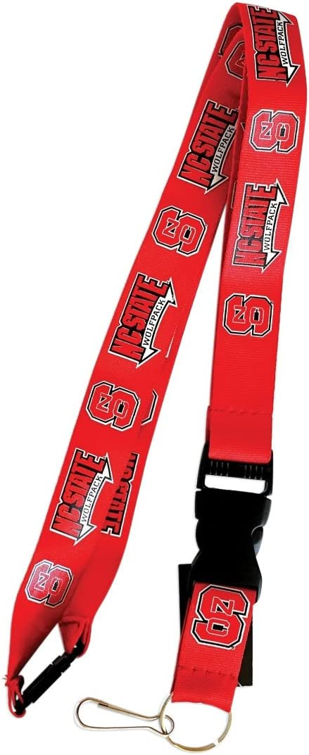 Nc State Wolfpack Sports Collegiate Team Logo Clip Lanyard Keychain Id Ticket Red