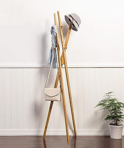 GUOWEI Perchero Soporte de Piso Escudo Estante de Revestimiento Cruzado con 6 Ganchos Bambú, el Color de bambú Original Disponible, 42 * 177CM