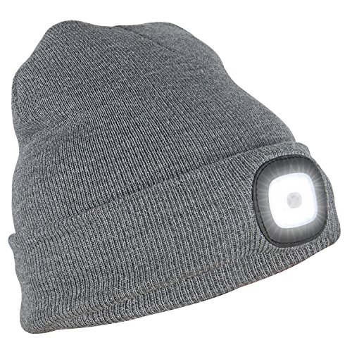 Led Lighted Dog Cap - Tagvo USB Rechargeable LED Beanie Cap, Lighting and Flashing Alarm Modes 8 LED Hands Free Flashlight, Easy Install Quick Release Headlamp Beanie, Unisex Winter Warmer Knit Cap Hat - Grey