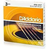 D'Addario EJ15-3D Phosphor Bronze Acoustic Guitar Strings, Extra Light, 3 Sets