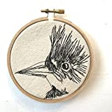 Belted Kingfisher Freehand Machine Stitched Portrait