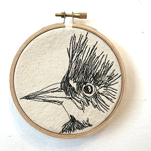 Belted Kingfisher Freehand Machine Stitched Portrait by jennyjen42