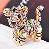 JewelBeauty Cute Animal Key Ring Ceative Keychain Crystal Rhinestone Tiger Key Chain for Woman Handbag Clothing Accessories (Colorful)