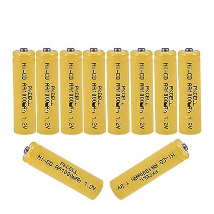 Amazon.com: 1,2 V NiCd 1000 mAh AA pilas recargables para ...