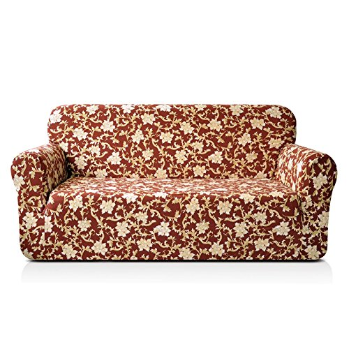 CHUN YI 1-Piece Stylish Printed Polyester Spandex Fabric Loveseat Couch Slipcover Soft Elastic Sofa Cover for 2 Seats Love seat Sofa (Loveseat, Coffee ()