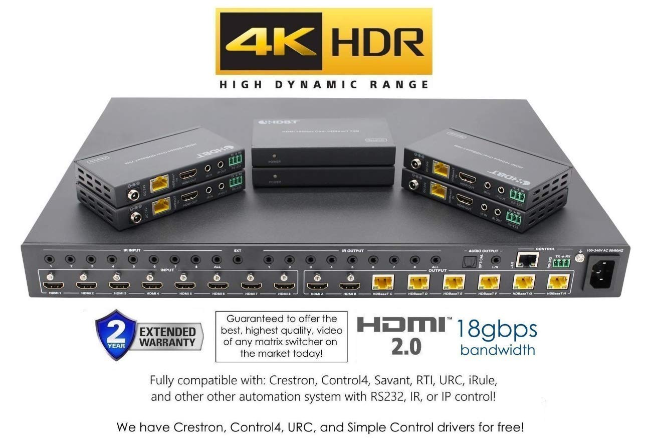 8x8 HDR 18GBPS HDbaseT 4K HDMI Matrix SWITCHER 6 PoC Receivers HDMI 2.0a 2.0 CAT6 CAT5e HDMI HDCP2.2 Routing SPDIF Audio CONTROL4 Savant Home Automation