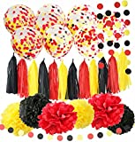 Qian's Party Mickey Mouse Birthday Decorations Mickey Mouse Color Party Supplies Yellow Black Red Confetti Ballons Tissue Paper Pom Pom Tassel Garland Mickey Garland Banner