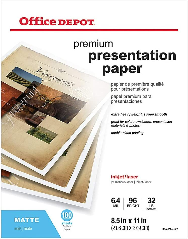 Office Depot Double-Sided Presentation Paper, Matte, 8 1/2in. x 11in, 32 Lb, Pack of 100 Sheets, 124212