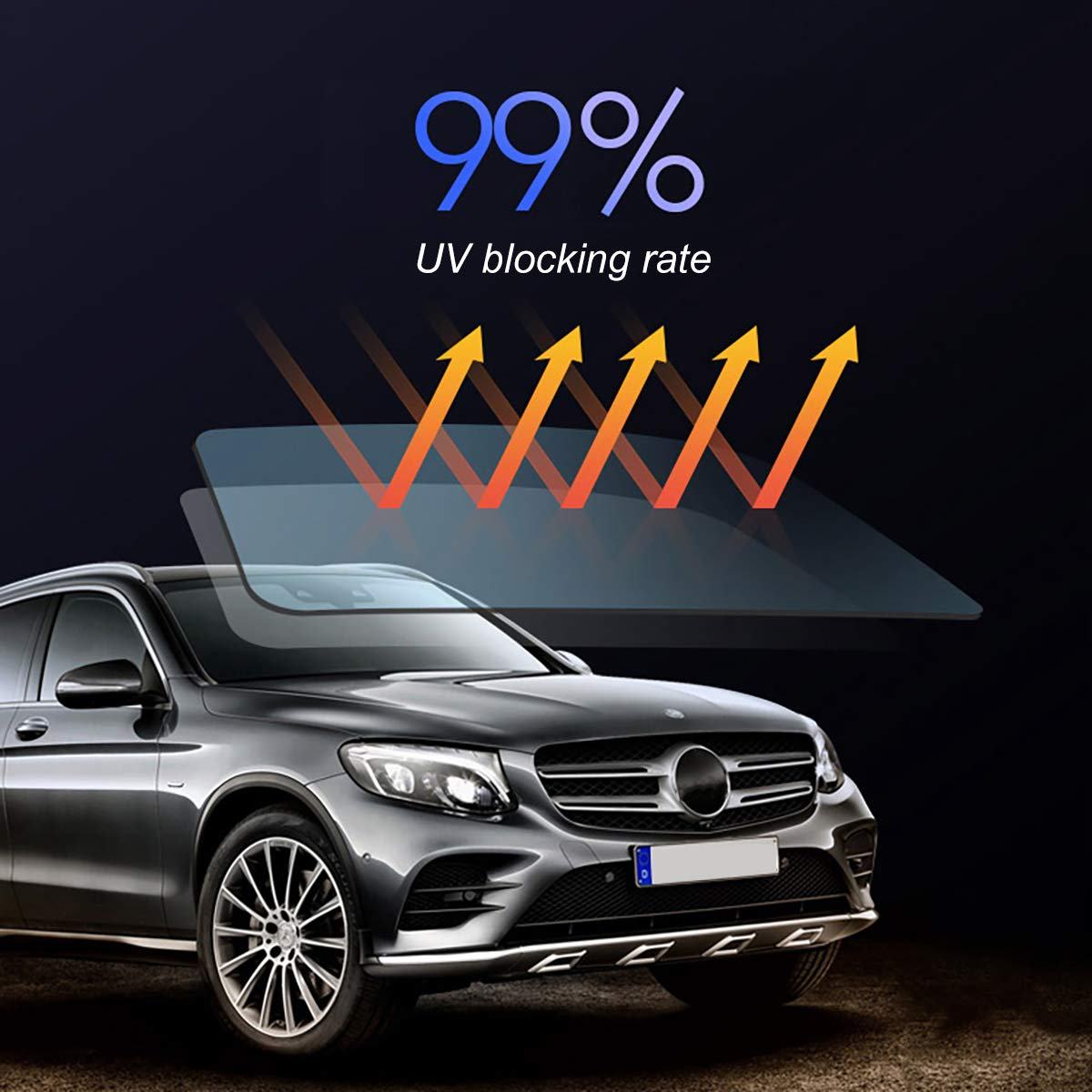 FanSi Sichtschutzfolie Auto-Fensterfolie B/üro und Zuhause 50/% UV-Schutz f/ür Autos