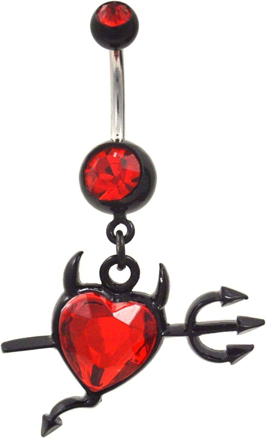 Red Gem Paved Heart Shape Belly Button Ring Navel Body Piercing Jewelry