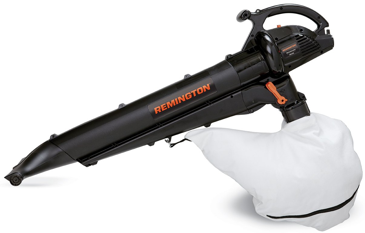 Remington RM1300 Mulchinator 3-in-1 12 Amp Electric Blower Mulcher Vacuum-Lightweight 2 Speed-10 1 Debris Reduction-Attachable Rolling Nozzle-2 Stroke