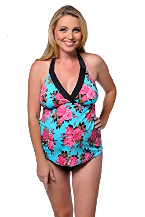 7585911448 Prego Maternity Swimsuit Trimkini - Turquoise Floral - Aqua Print - Small at  Amazon Women's Clothing store: