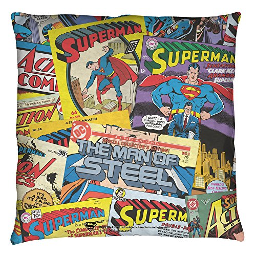 [Superman Fan Throw Pillow (White, 16x16)] (Iconic Movie Characters Costumes)