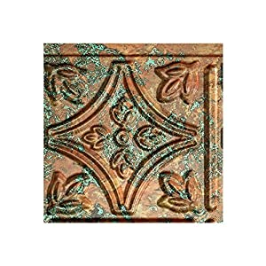 """Fasade Easy Installation Traditional 1 Copper Fantasy Backsplash Panel for Kitchen and Bathrooms (6"""" x 6"""" Sample)"""