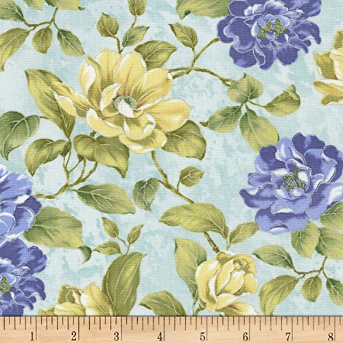 (Timeless Treasures Feathered Peacock Flower Bunches Metallic Julep Fabric by The Yard)