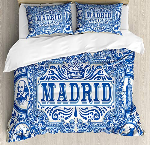 Ambesonne Spanish Duvet Cover Set, Madrid Calligraphy Traditional Painted Tin Graphic Tile Azulejo Print, Decorative 3 Piece Bedding Set with 2 Pillow Shams, King Size, Navy Eggshell