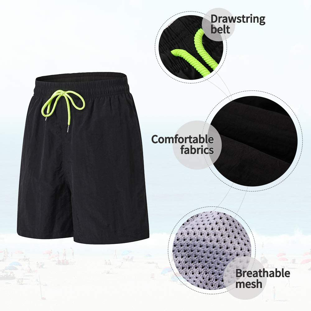 Mens Workout Running Shorts Casual Quick Dry Beach Athletic Gym Shorts with Pocket