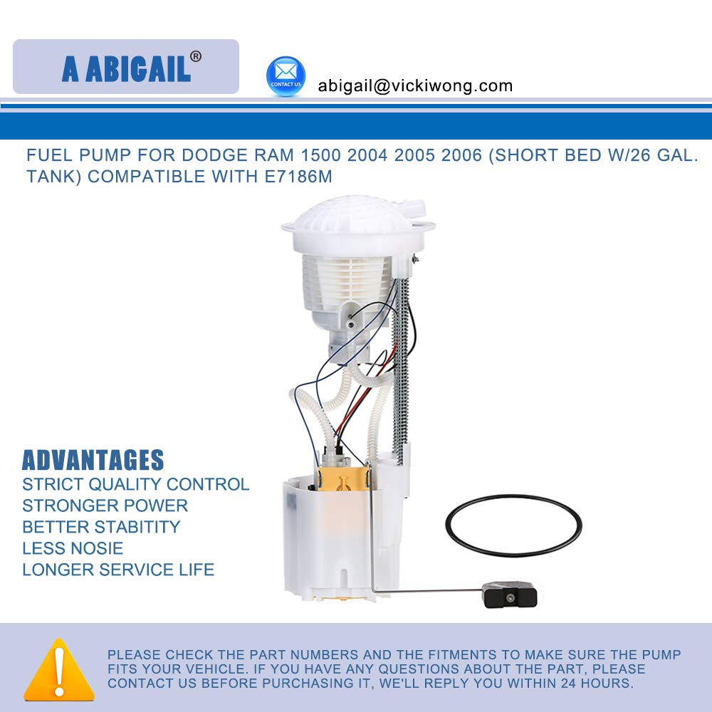 Amazon.com: Fuel Pump A5104M for DODGE RAM 1500 2004 2005 2006 (Short Bed w/26 Gal. Tank) compatible with E7186M: Automotive