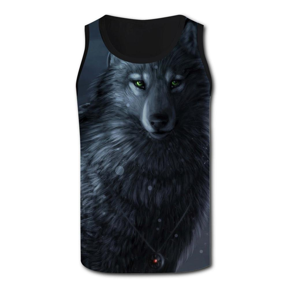 Mens Tank Top Wolf at Night Vest Shirts Singlet Tops Sleeveless Underwaist Football