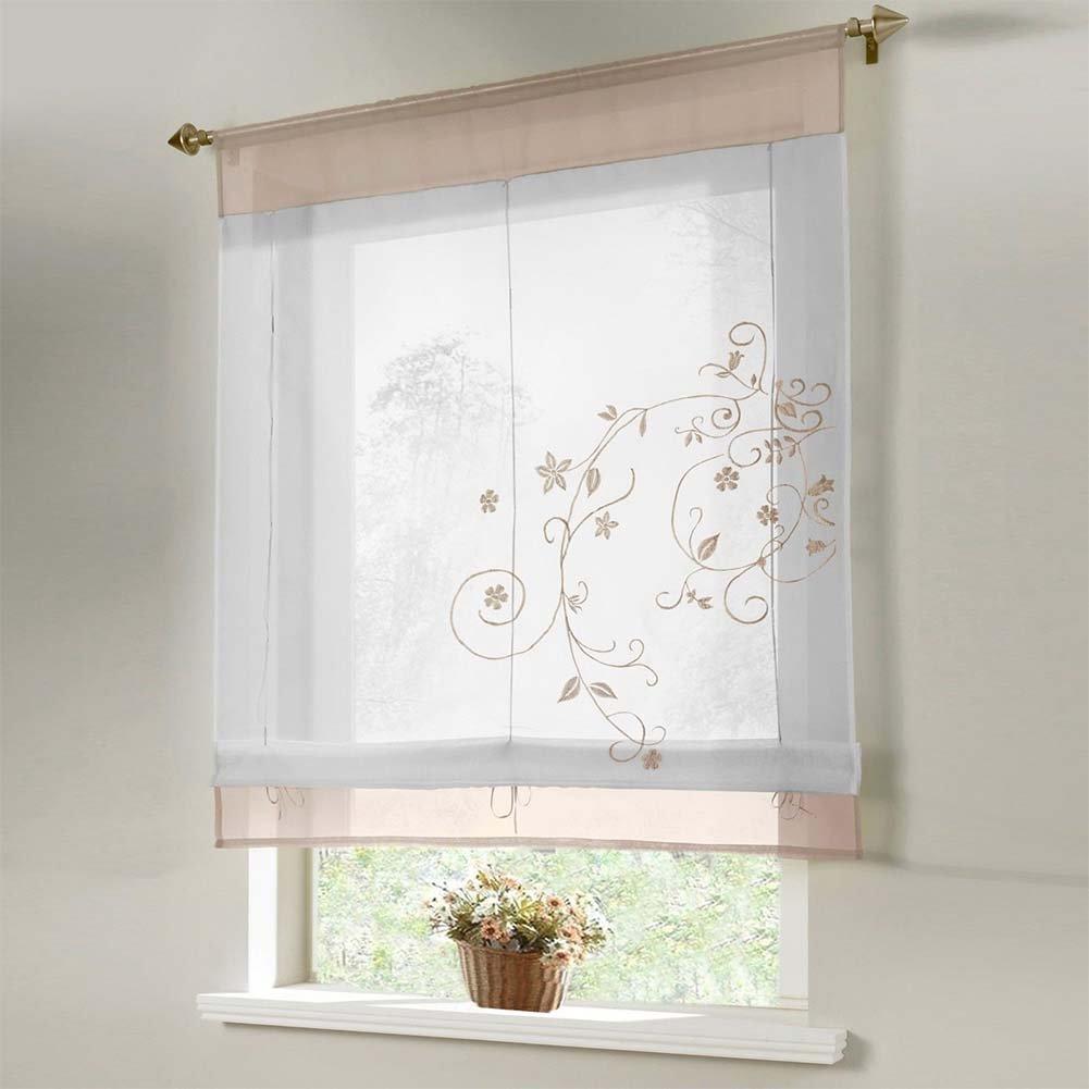 HOMYY tende sollevabile flora tenda a pannello Drop Roman ricamato Windows trattamento organza Kitchen Balcony Windows Shades, Grey, 60cm x120cm