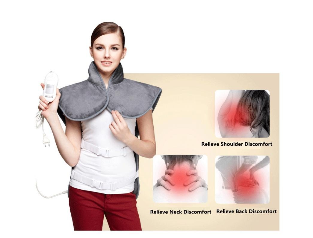 WE&ZHE Electric Heating Vest For Back Shoulder Chest, Far Infrared + Moxibustion Heat, 120W, Gray -Heat Pads For Back Pain, Heat Therapy Wrap To Relieve Body - 3 Temperatures, Full Machine Washable