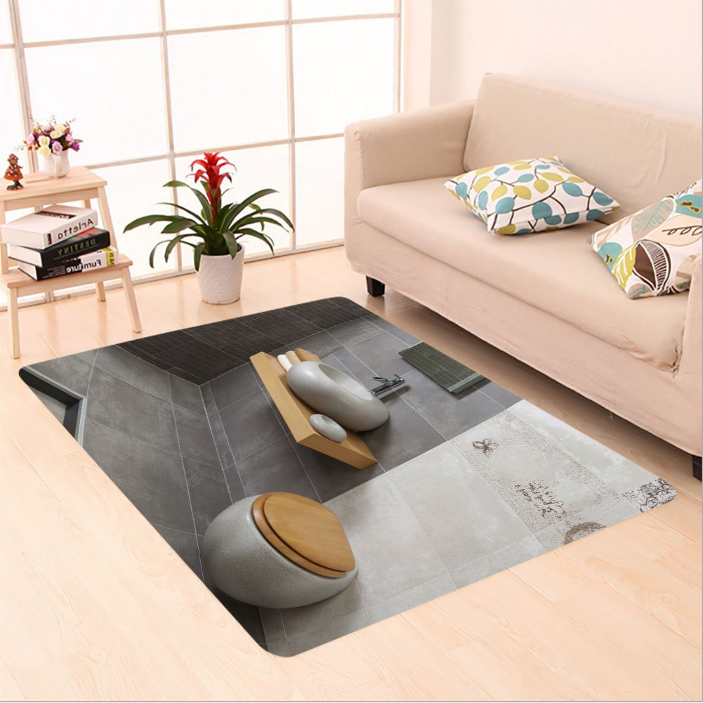 Sophiehome skid Slip rubber back antibacterial  Area Rug interior of modern bathroom with sink and toilet 172729316 Home Decorative