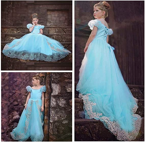DDLmax Kids Girls Short Sleeve Flowers Floor Length Elegant Girls Princess Costume Cosplay Fairy Dress Blue, Age:2-3 Years Clearance