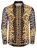 JINIDU Men's Long Sleeve Luxury Print Dress Shirt Graphic Button Down Shirt, XXL