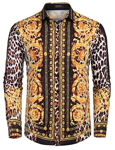 COOFANDY Mens Long Sleeve Luxury Print Dress Shirt Graphic Button Down Shirt,Dark Blue(horse (Paisley Print Silk Dress)