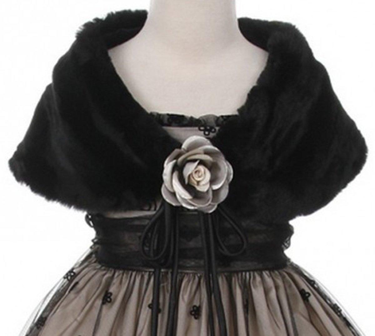 Big Girls' Soft Furry Elegant Fur Shawl Shoulder Wrap Flower Special Occasion Black 10 (K23D2)
