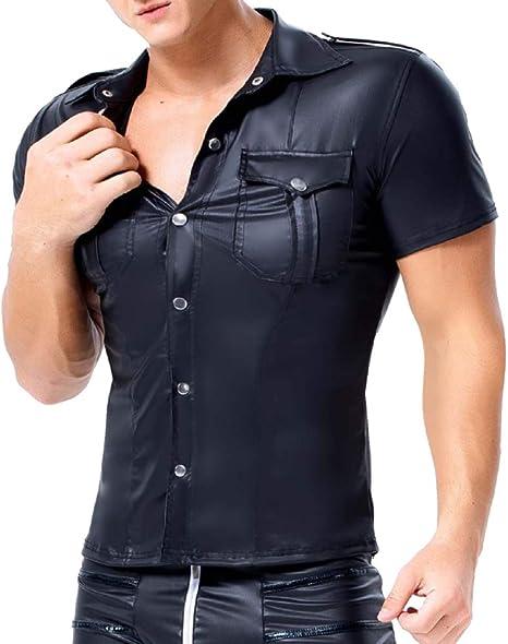 AKAKKSKY Hombre Sexy Charol Cuero Camisas de Charol de Manga Corta Club Desgaste: Amazon.es: Deportes y aire libre